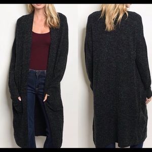 Sweaters - Charcoal gray duster sweater